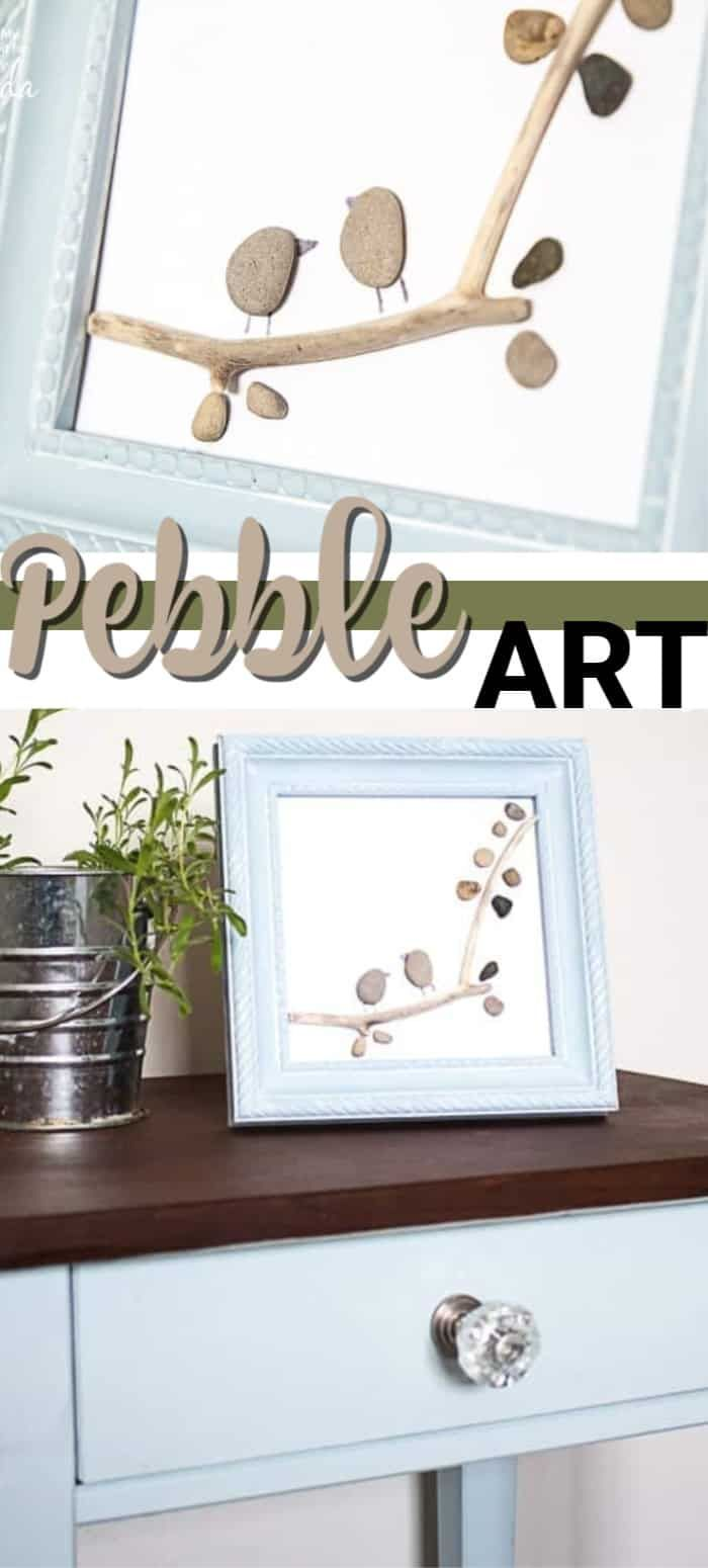 We'll show you how to recreate these two birds on a branch pebble art using some...