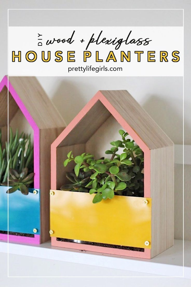 Wood and Plexiglass House Planters