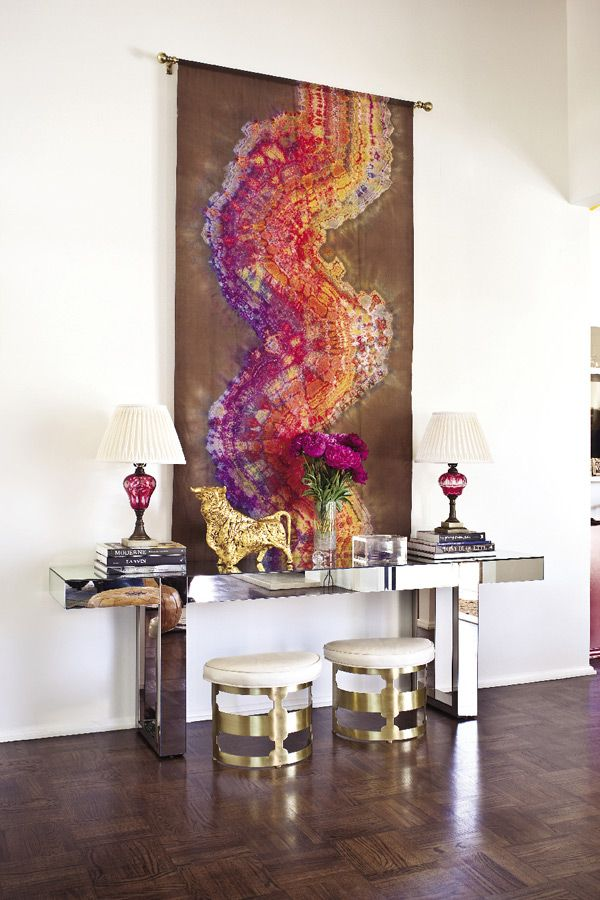 abstract art, mirrored console, brass stools, entry by Molly Luetkemeyer