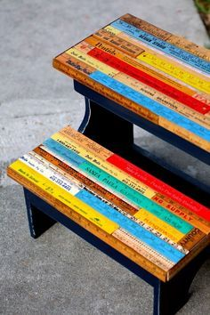 DIY Step Stool with Upcycled Vintage Rulers