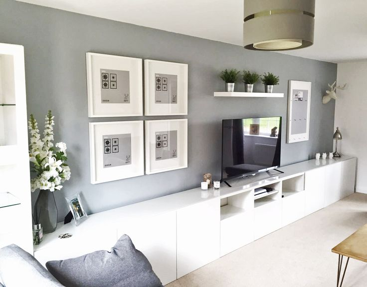 Ikea BESTÅ, Living Room, Tv unit, Picture Frames Ribba. White, Grey.