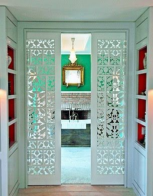 love these cut out pocket doors