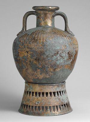 Bronze pointed neck-amphora with stand, ca. 500–450 b.c. Greek Bronze