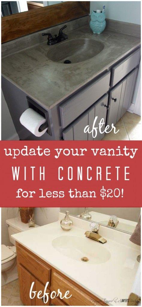 DIY Vanity Makeover using Concrete Overlay!