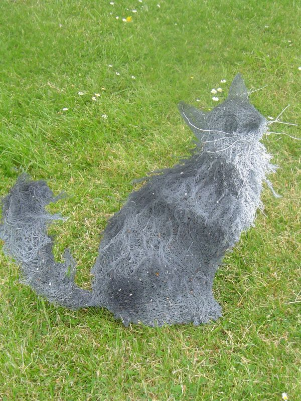 'Long haired Cat (Wire Netting Lifesize sculpture)' by Lucia Corrigan