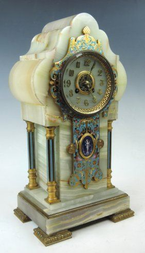 French Champleve Enamel & Onyx & Dore Bronze Clock