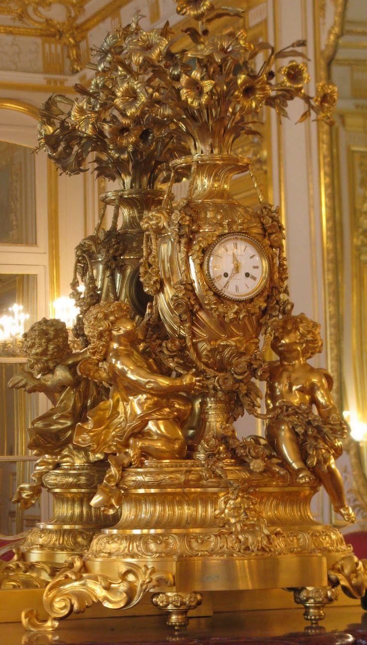 Rococo Clock in the Grand Hôtel d'Estrées, the residence of the Russian amba...