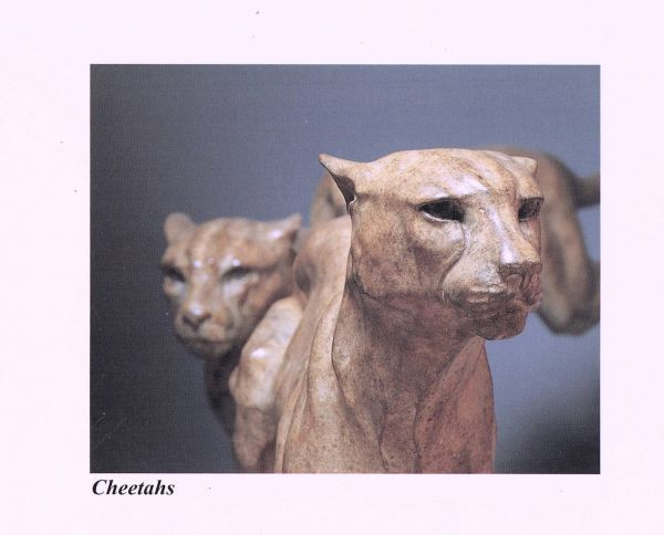 #Bronze #sculpture by #sculptor Gill Parker titled: 'Cheetahs (Bronze Pair Runni...