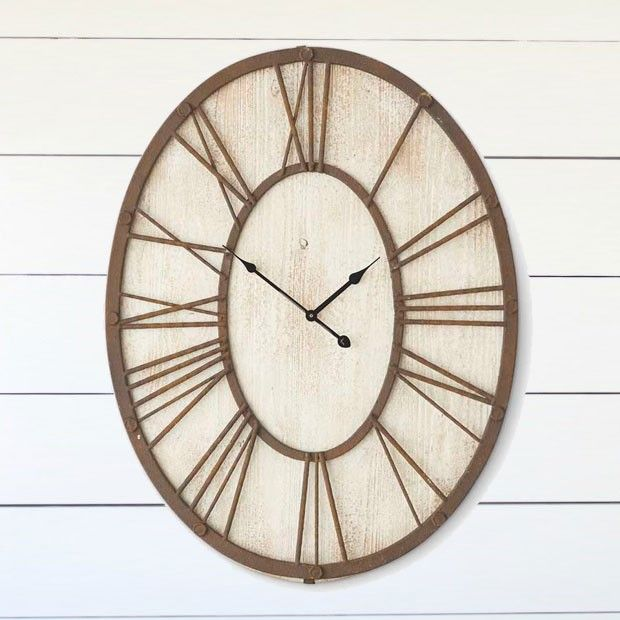 White Washed Oval Wall Clock