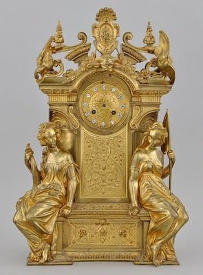 A Napoleon III D'Ore Bronze Figural Mantel Clock by Jean-François Denière and ...