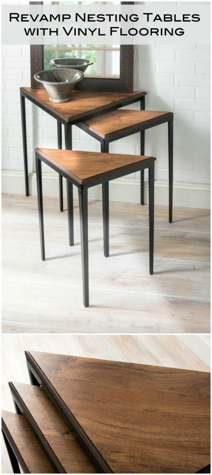 Revamp Nesting Tables with Vinyl Flooring