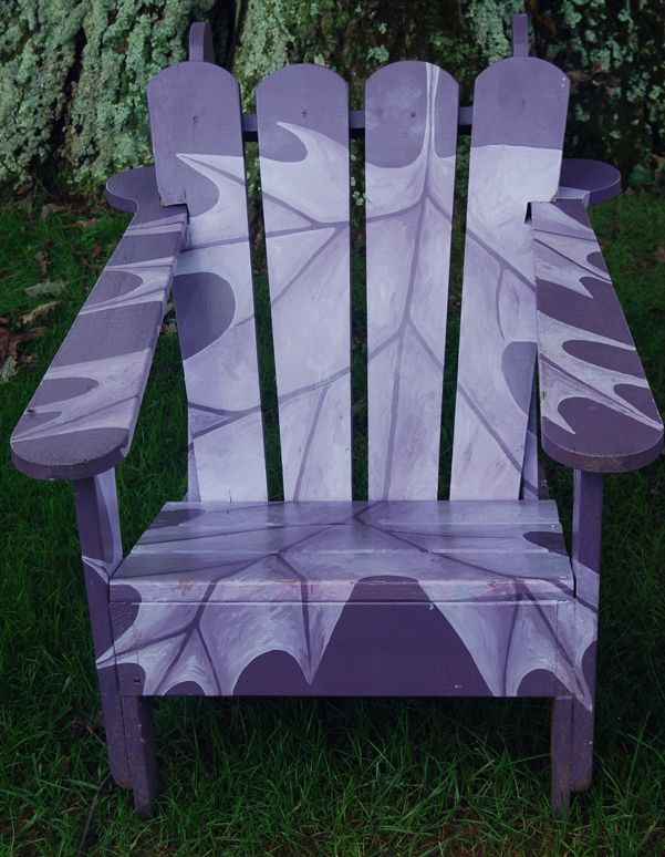 Painted Adirondack chair. Chanticleer Garden, an estate & garden in Wayne, Penns...