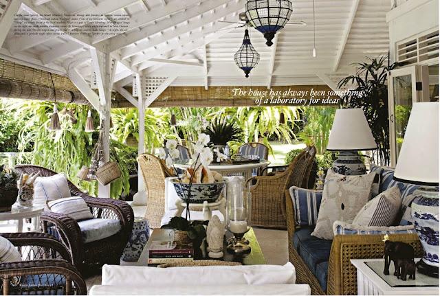 Stuart Membery's British Colonial porch. Voa Vogue Living.