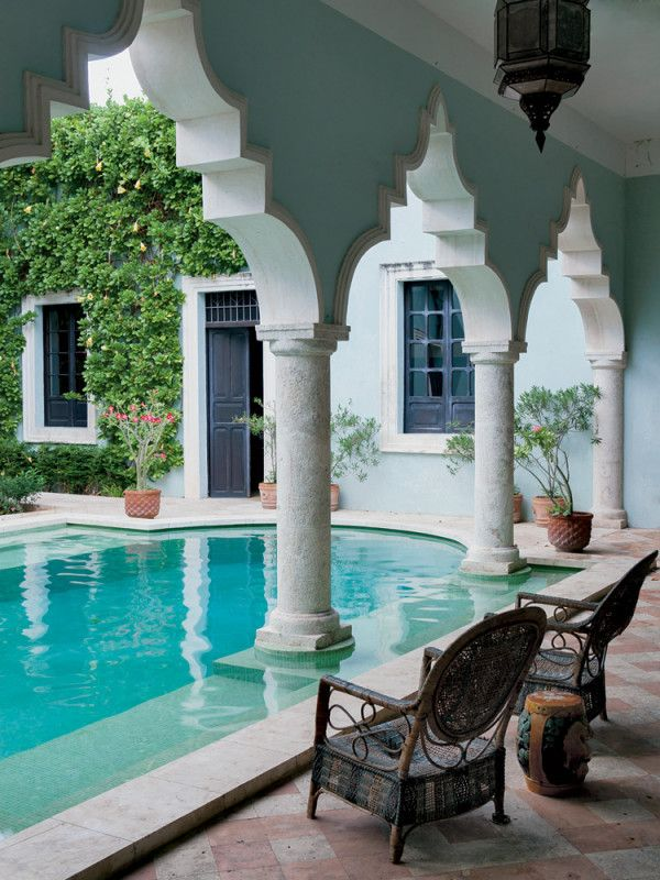 The courtyard at the home of James Jordan in Merida, Mexico, the New York-based ...