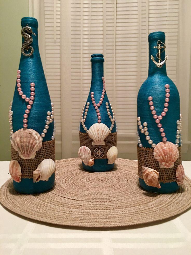 Hand wrapped, wine bottle, bottle, beach, ocean, sea themed, vase, centerpiece, ...
