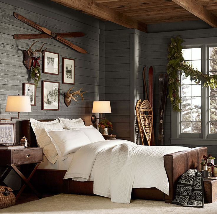 Love the walls, color and texture.  Love the picture/antler arrangement. Like th...