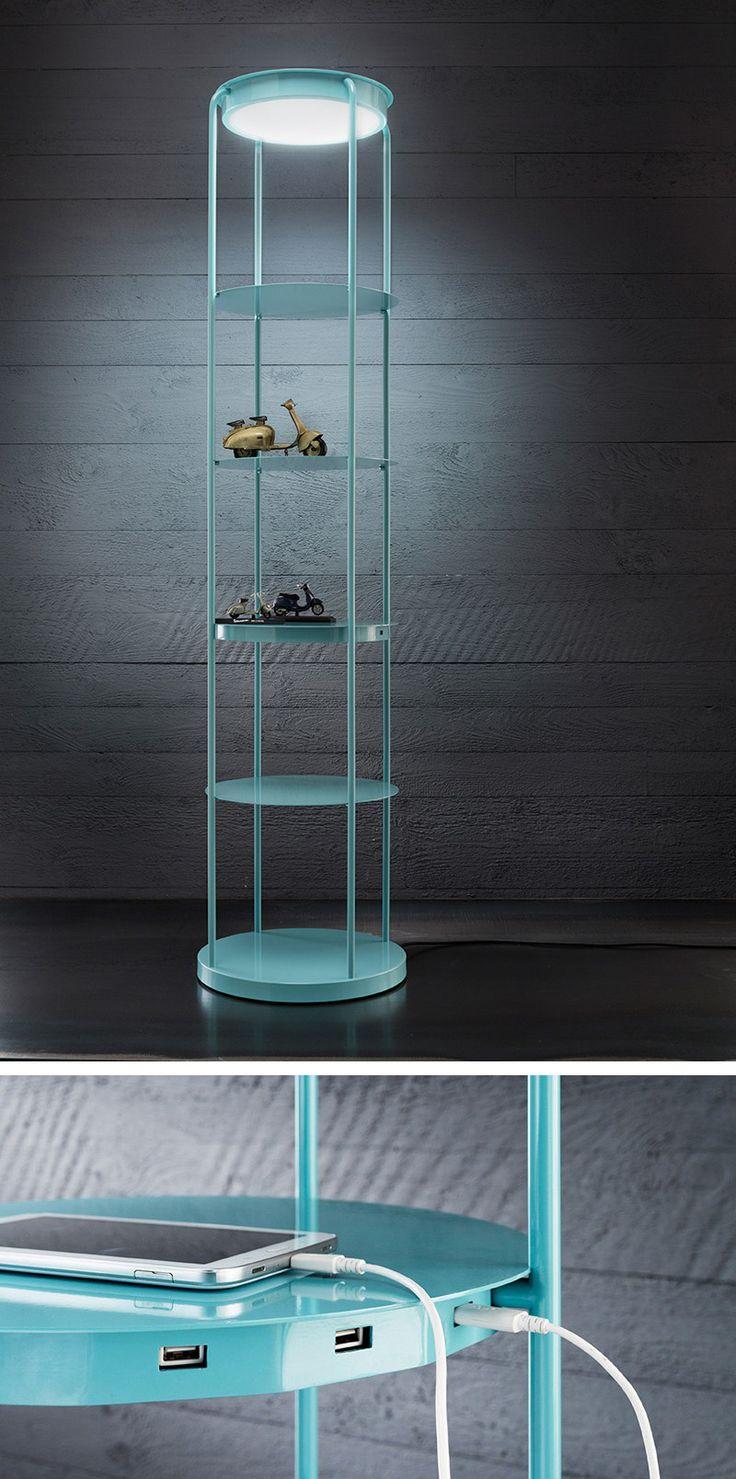 Filippo Mambretti Creates A Lamp/Shelf Combo With Built-In Device Charging