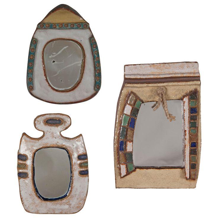 Three Ceramic Frame Mirrors by Les Argonautes