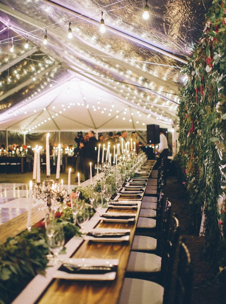 Elegant Fall Backyard Wedding & very organic & natural with the farm tables and greenery