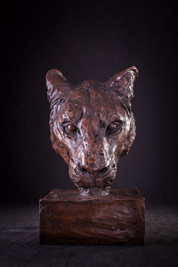 'Portrait of a Lioness (Bronze Head/Mask statues)' by Matt Withington