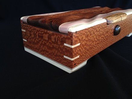 Beautiful combination of leopardwood and maple in this box
