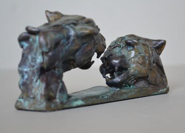 #Bronze #sculpture by #sculptor Edward Waites titled: 'ejw Miniatures Leopard Du...