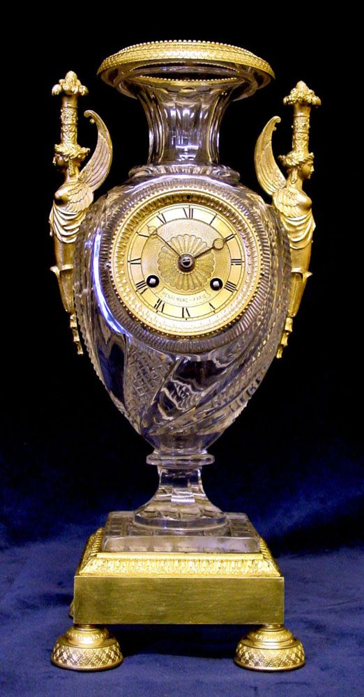 early 19th century lead crystal & ormolu urn clock