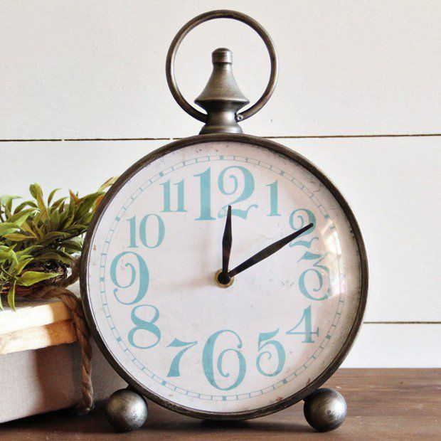 Round Metal Table Clock