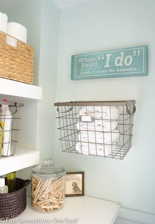 Budget Laundry Closet with DIY Floating Shelves