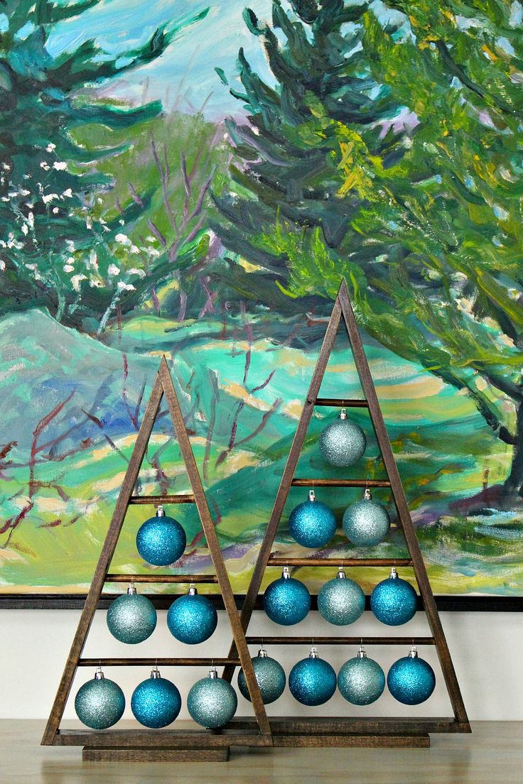 DIY wood a-frame triangle ornament stand