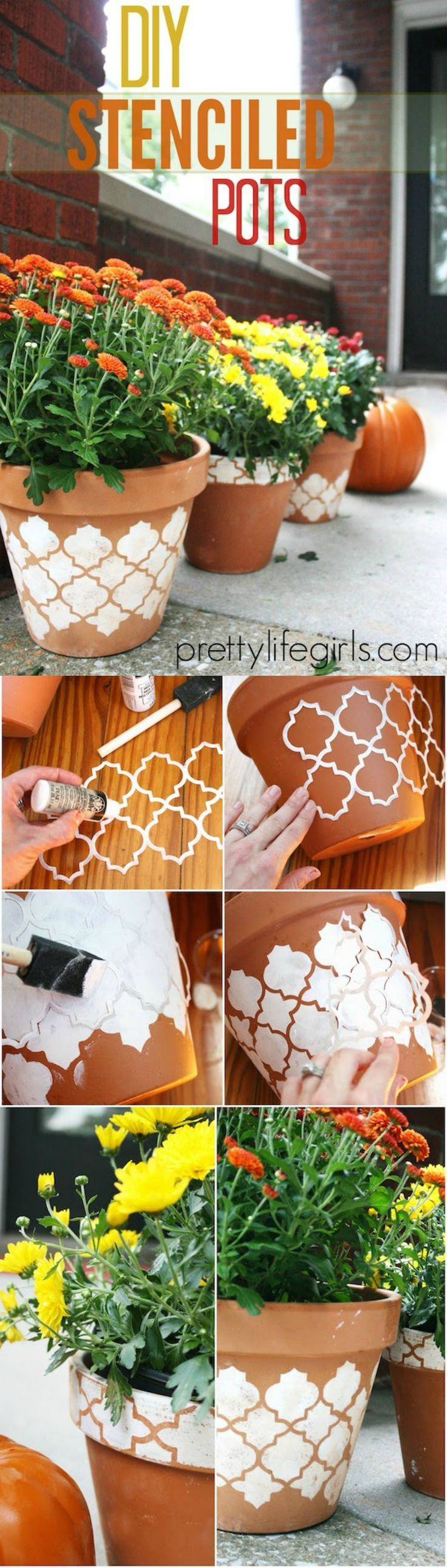 How to Stencil a Clay Pot