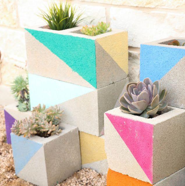 Landscape It - A Colorful Cinderblock Succulent Garden