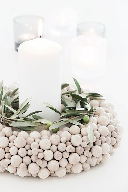 Wooden ball candle display