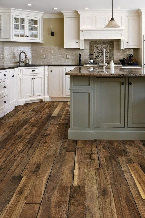 island kitchen in country colours