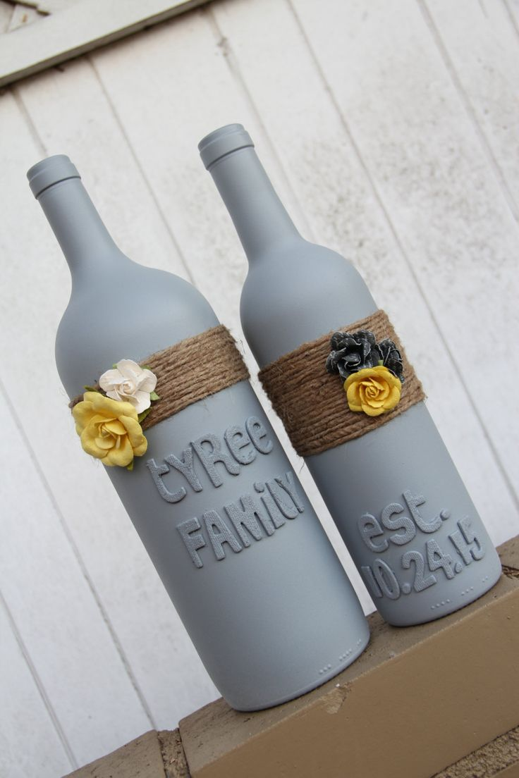 Custom Wedding Gift | Wedding Wine Bottles | Yellow and Gray Wedding - pinned by...