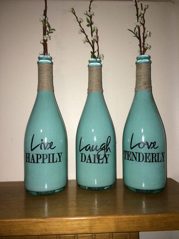 Live laugh love Wine bottle champagne bottle vases Crafts