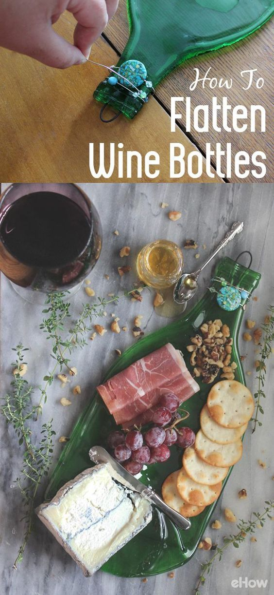 These flatten wine bottles make perfect serving trays for your cheese and meats ...