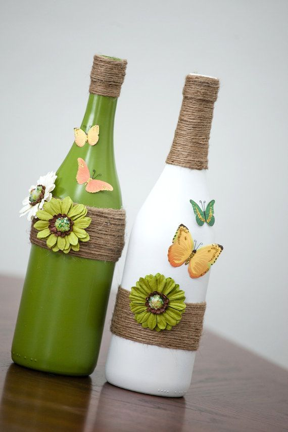 This is ONE bottle, displayed here as a set. It is painted antique white with ad...
