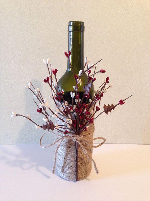 Wine decor, twine wine bottles, wine bottles, decorated                         ...