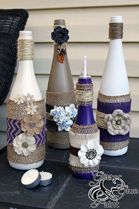 wine bottle tiki lamps - Glitter, Glue and Paint - These would make a great cent...
