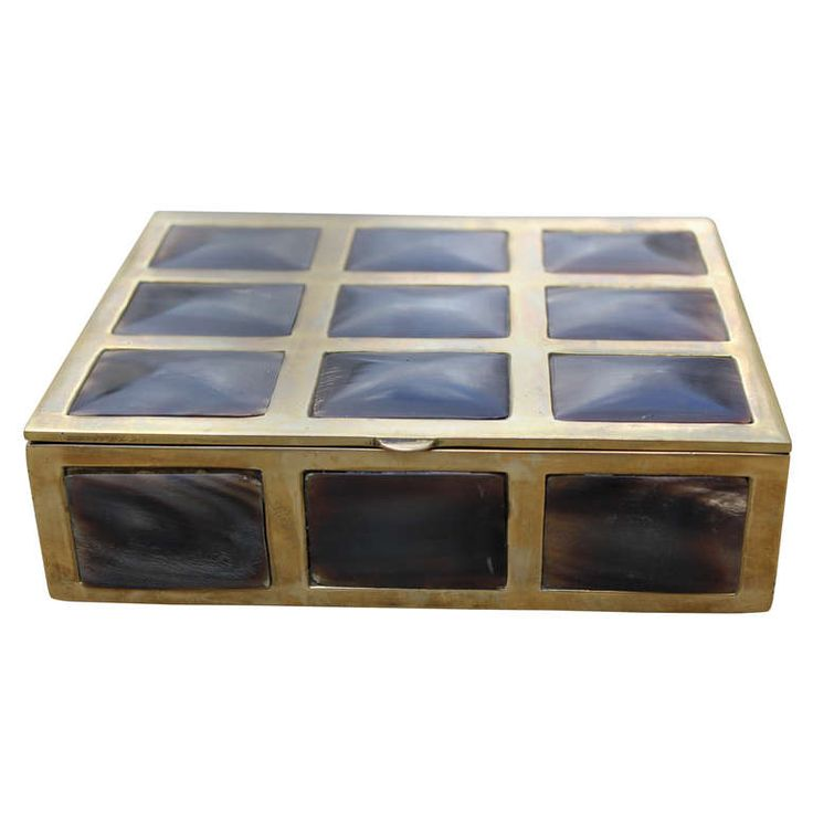 Brass Box with Horn Inlay | From a unique collection of antique and modern boxes...