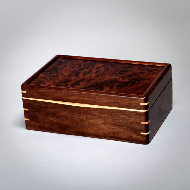 Wood Mens Box, Keepsake Box, Treasure Box Walnut with Walnut Burl Lid. The Keeper 0815-013-001