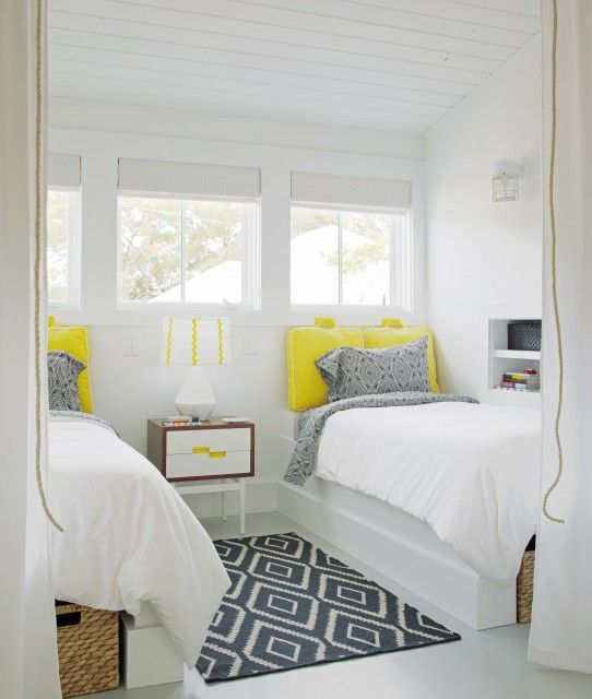Grey and yellow guest bedroom