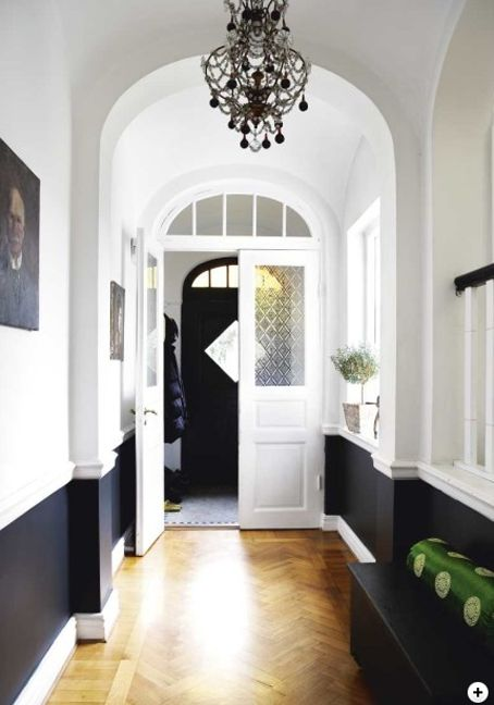 black and white entry hall