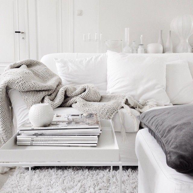 White and light grey living room. Photo by Malin N, via vittvittvitt on instagra...