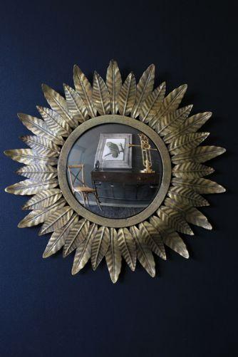 Small Gold leaf Sun Convex Mirror