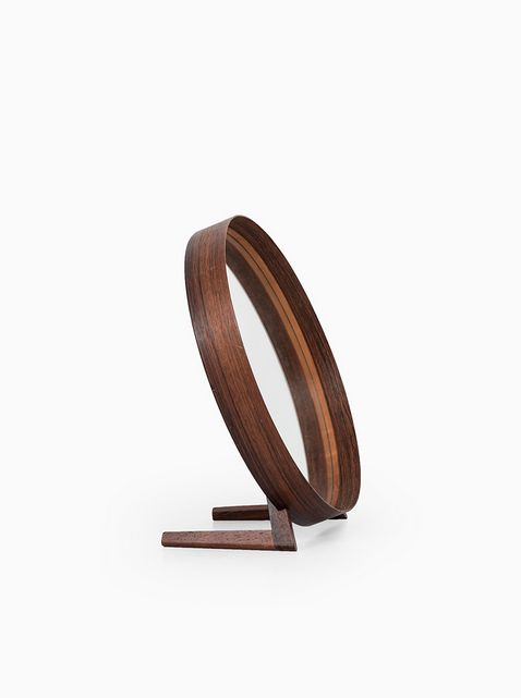 Uno & Östen Kristiansson; Rosewood and Leather Table Mirror for Luxus, 1960s. V...
