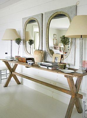 great mirrors & farm table. Double.