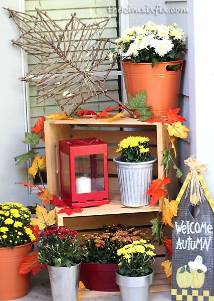 Fall Front Porch with Personalized Door Plaque