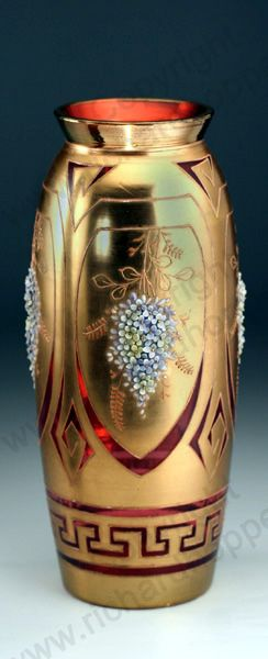 Antique Glass with nature theme. Bohemian gilt over cranberry vase with relief p...